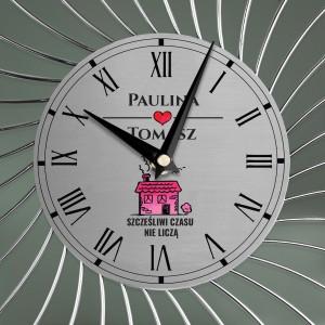 zegar z nadrukiem na ścianę na prezent na parapetówę