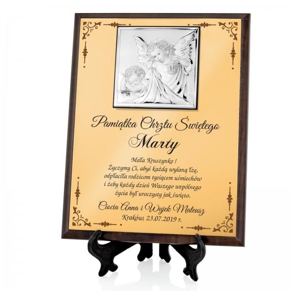 na prezent na chrzest srebrny obrazek z nadrukiem na chrzest