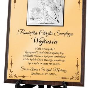na prezent na pamiątkę chrztu srebrny obrazek z nadrukiem na chrzest