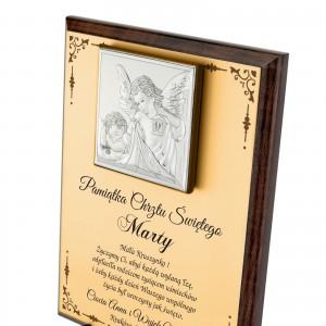srebrny obrazek z nadrukiem na chrzest na pamiątkę chrztu świętego