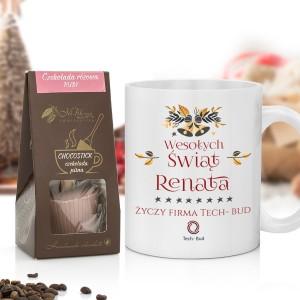 personalizowany prezent dla pracownika kubek z nadrukiem i czekolada pitna