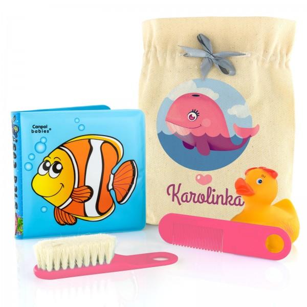na prezent dla dziecka zestaw do kąpieli dla dziewczynki w woreczku