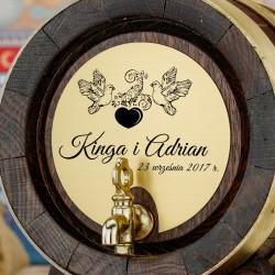 grawerowana beczka na alkohol 2 litrowa z kranikiem jako prezent na ślub