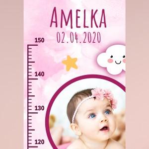 miarka wzrostu z nadrukiem imienia na prezent dla dziewczynki