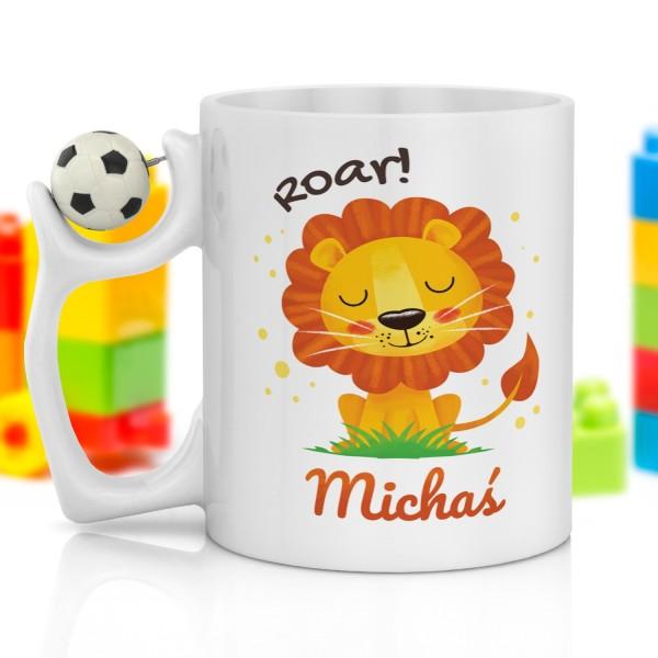 dla chłopczyka kubek z nadrukiem i piłką na prezent na dzień dziecka