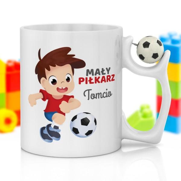 kubek z nadrukiem i piłką na prezent na dzień dziecka dla chłopczyka