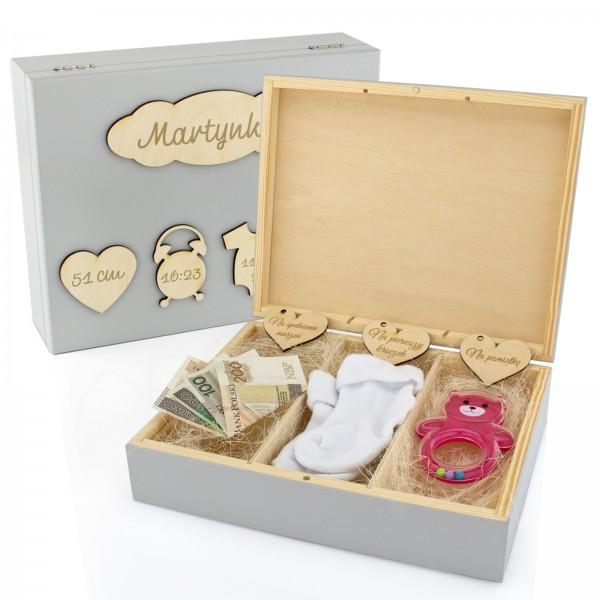 wnętrze pudełka wspomnień na prezent na chrzest dla dziewczynki