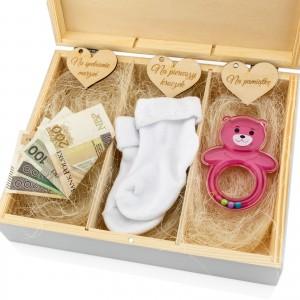 pudełko wspomnień na prezent na chrzest dla dziewczynki z przegródkami