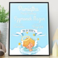 na prezent na chrzest personalizowany plakat w ramce na pamiątkę chrztu