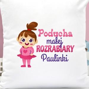 na prezent na dzień dziecka personalizowana nadrukiem imienia poduszka dla dziewczynki - Sama w Domu