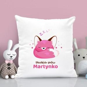 na prezent na roczek poduszka z nadrukiem i personalizacją dla dziewczynki - Kołysanka