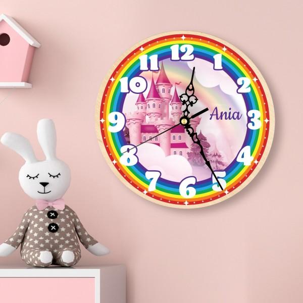 zegar z personalizacją na prezent dla dziewczynki - z tęczą i pałacykiem
