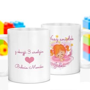 kubek z obustronnym nadrukiem imienia i rocznicy urodzin na prezent na urodziny dla dziewczynki