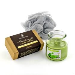 zawartość zestawu prezentowego: mydło, świeca zapachowa, myjka