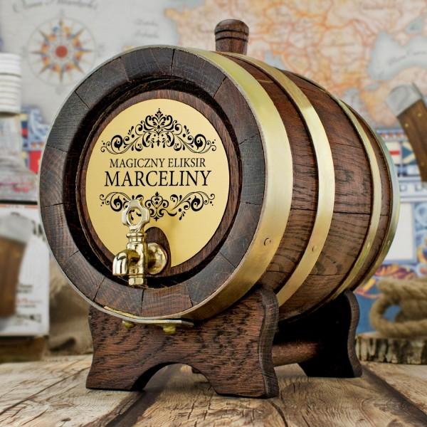 beczka dębowa na alkohol z napisem magiczny eliksir i grawerem imienia