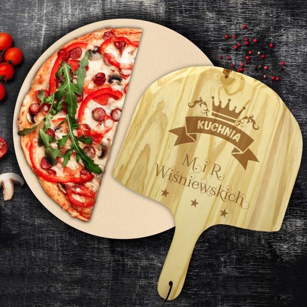 kamień do pizzy z deską z grawerem na prezent na parapetówkę