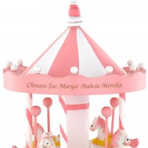 grawer dedykacji na pozytywce Różowe Koniki na prezent na chrzest dla dziewczynki