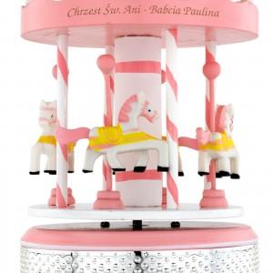 na prezent z okazji chrztu dla dziewczynki różowa pozytywka z konikami
