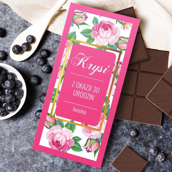 personalizowana czekolada w obwolucie na prezent na 30 urodziny dla niej