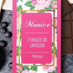 obwoluta czekolady z nadrukiem dedykacji na prezent na 30 urodziny dla siostry