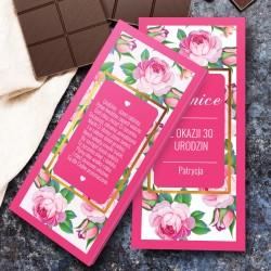 obustronnie personalizowana obwoluta czekolady na prezent na 30 urodziny dla przyjaciółki