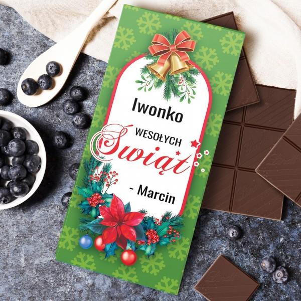 czekolada ze spersonalizowana obwolutą na prezent świąteczny dla niej