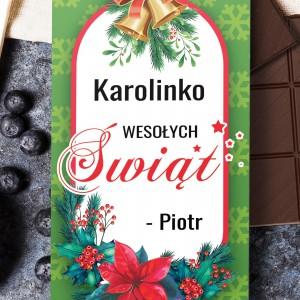 nadruk dedeykacji na obwolucie świątecznej czekolady na prezent dla siostry