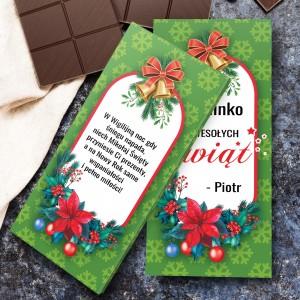 obustronnie personalizowna obwoluta czekolady na prezent na święta dla niej