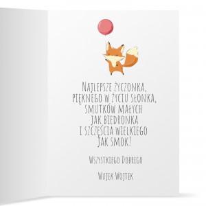 kartka z nadrukiem życzeń i dedykacji dla dziecka