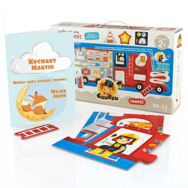 puzzle z dziurką z kartką z życzeniami i możliwością personalizacji