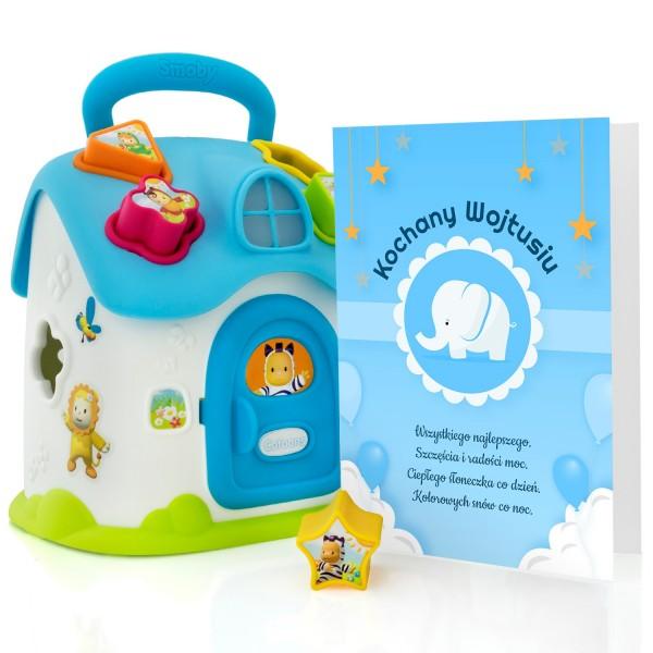 smoby sorter kształtów dla chłopca z dołączoną urodzinową kartką z personalizacją