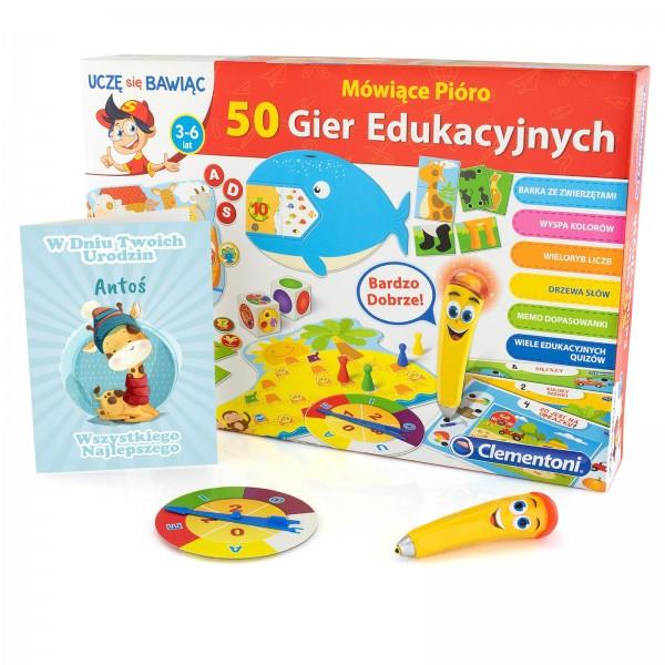 gra mówiace pióro z kartką z nadrukiem personalizacji na prezent dla chłopca