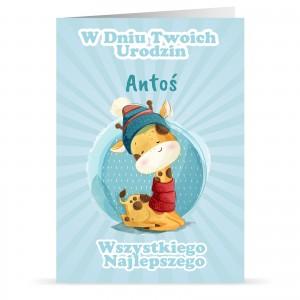 kartka dla dziecka z personalizacją i nadrukiem życzeń