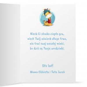 personalizowana kartka dla dziecka z nadrukiem życzeń i dedykacji