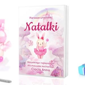 Pudełko różowe z personalizacja na sztućce na prezent dla dziewczynki na roczek