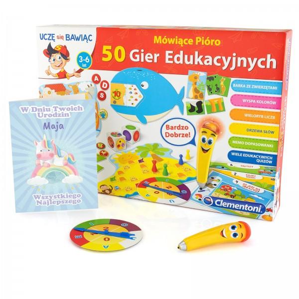 zestaw na prezent dla dziewczynki, gra mówiące pióro i kartka urodzinowa