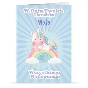 kartka personalizowana z życzeniami i nadrukiem imienia dla dziewczynki na urodziny