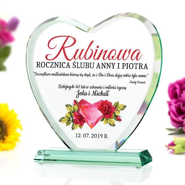 statuetka szklana na rubinową rocznicę ślubu