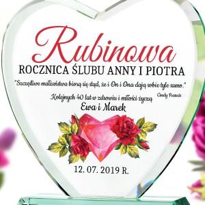 rubinowa rocznica ślubu statuetka  z nadrukiem daty i dedykacji