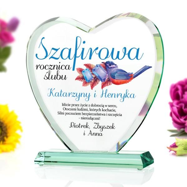 szafirowa rocznica ślubu stateutka serce szklana z grawerem dedykacji na 45 rocznice ślubu