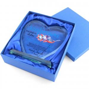 statuetka szklana serce z nadrukiem dedykacji na szafirową rocznicę ślubu
