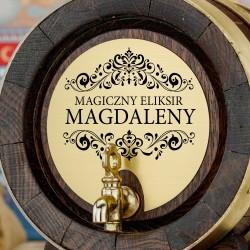 dębowa beczka na wino z kranikiem i z grawerem na prezent dla kobiety