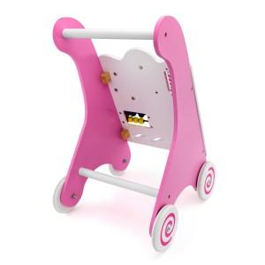 drewniany chodzik pchacz dla dziecka w kolorze różowym
