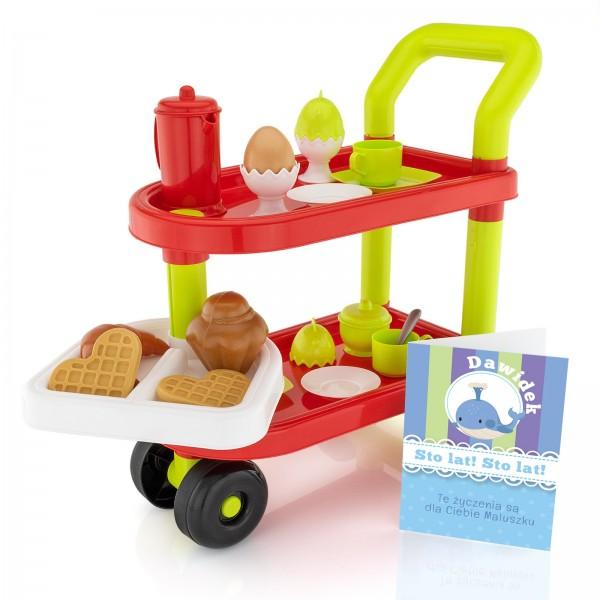 zabawka dla dziecka stolik śniadaniowy z zabawkowym jedzeniem i kartką z personalizacją