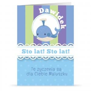 kartka z personalizacją z życzeniami na urodziny dla dziecka
