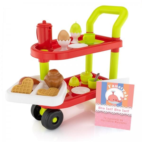 zabawka dla dziecka wozek sniadaniowy z kartką z personalizacja na urodziny