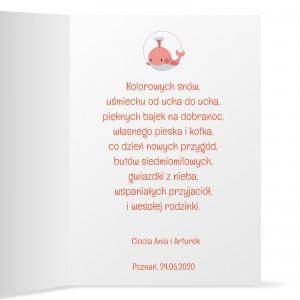 kartka z życzeniami na urodziny dla dziewczynki i z nadrukiem dedykacji