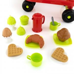 elementy zestawu do wózka śniadaniowego dla dzieci ecoiffer, plastikowe gofry, muffinka i naczynia