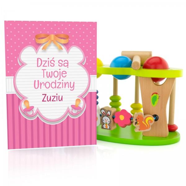 zabawka edukacyjna dla dziecka z kolorową kartką urodzinową z personalizacją