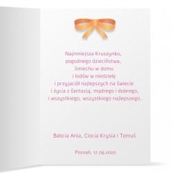personalizowana kartka z życzeniami dla dziewczynki i nadrukiem personalizacji